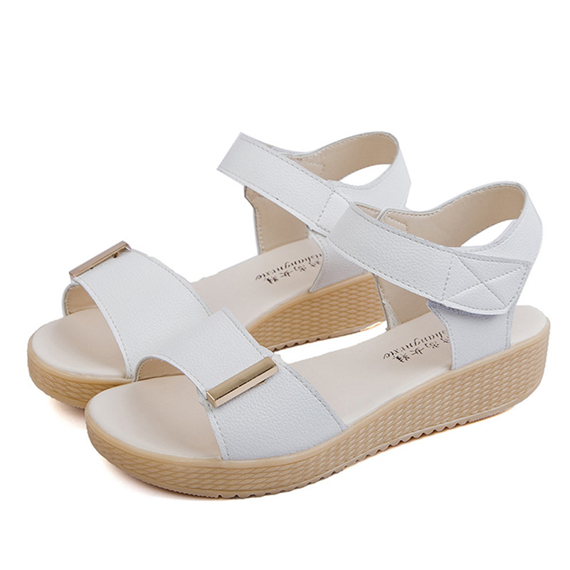 2017 Casual Women Sandals Comfort Low Wedges Summer Shoes Woman Platform Open toe Summer Dress Shoes Ankle Strap Sandalias phyanic 2017 gladiator sandals gold silver shoes woman summer platform wedges glitters creepers casual women shoes phy3323