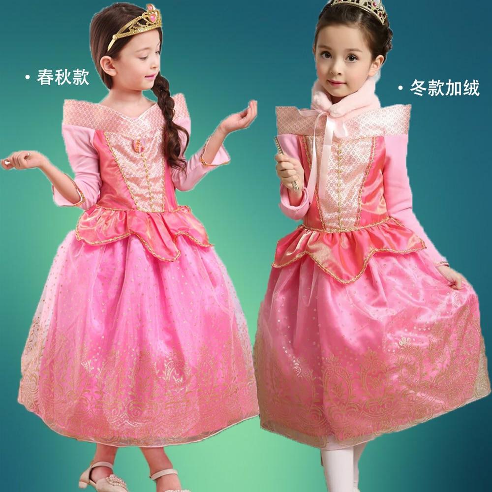 girls dresses Spring 2016 Princess Aurora long sleeves dress Pink kids sleeping beauty dress full show cosplay dress top quality аксессуары для косплея random beauty cosplay