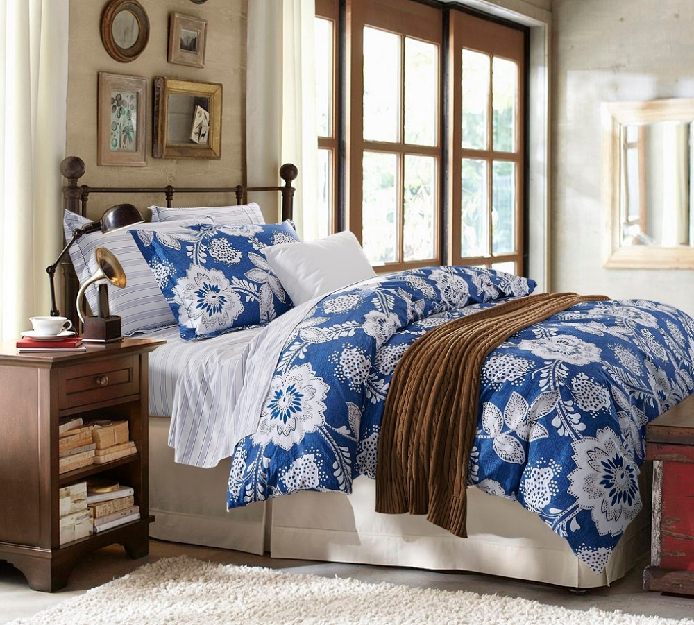 Blue and white bedding - White Floral Blue 4pcs Bedding Sets 1 Duvet Comforter Cover 1flat Sheet