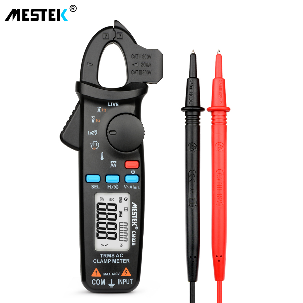 True RMS Digital Clamp Meter MESTEK CM82A B C DC AC Current Voltage Ampere NCV Ohm Tester Ammeter Multimeter Electrician Tool in Clamp Meters from Tools