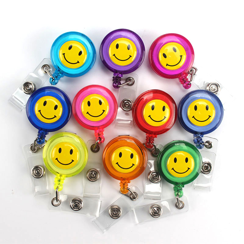Cartoon Emoji Retractable Badge Reel Lanyards ID Name Card Badge Holder Nurse Student Employee Card Clip Office Supplies