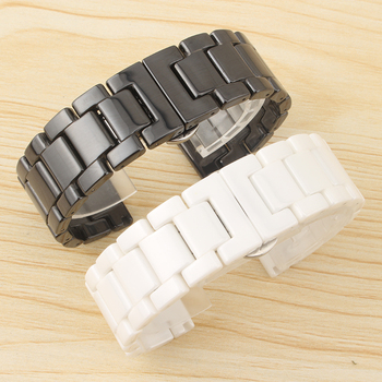 Ceramic Strap for ticwatch 2/1/E Gear S3 Classic S2 Smart Watch Accessories 18 20 22MM Black White Butterfly Buckle Strap