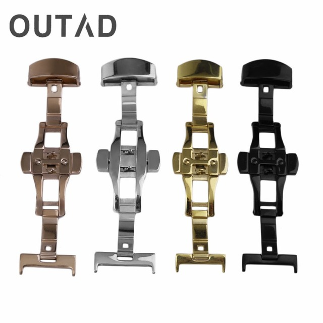 Stainless Steel Watch Bands Buckle Durable Double Folding Butterfly Deployment Clasp Watches Accessories 4 Colors18MM/20MM/22MM