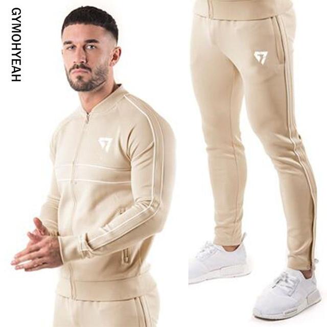 3902b38a4 Gymohyes marca de deporte traje de hombre sudaderas con capucha conjuntos  de ropa deportiva para hombre Jogger suit conjunto de chándal Masculino