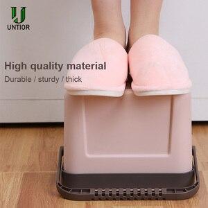 Image 4 - UNTIOR קיר רכוב פח אשפה ביתי מטבח פלסטיק נייד אחסון דלי פסולת סל Creative אמבטיה עם מכסה פח אשפה