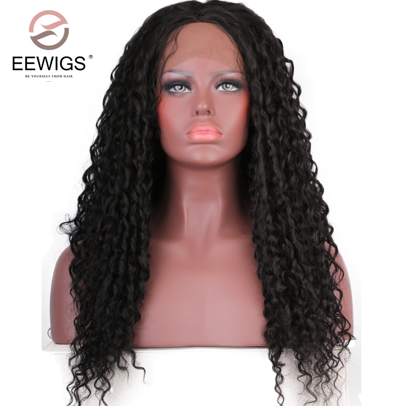 EEWIGS High Temperature Fiber Hair Natural Hairline Glueless Long Kinky Curly 1B Black Synthetic Lace Front Wig with Middle Part