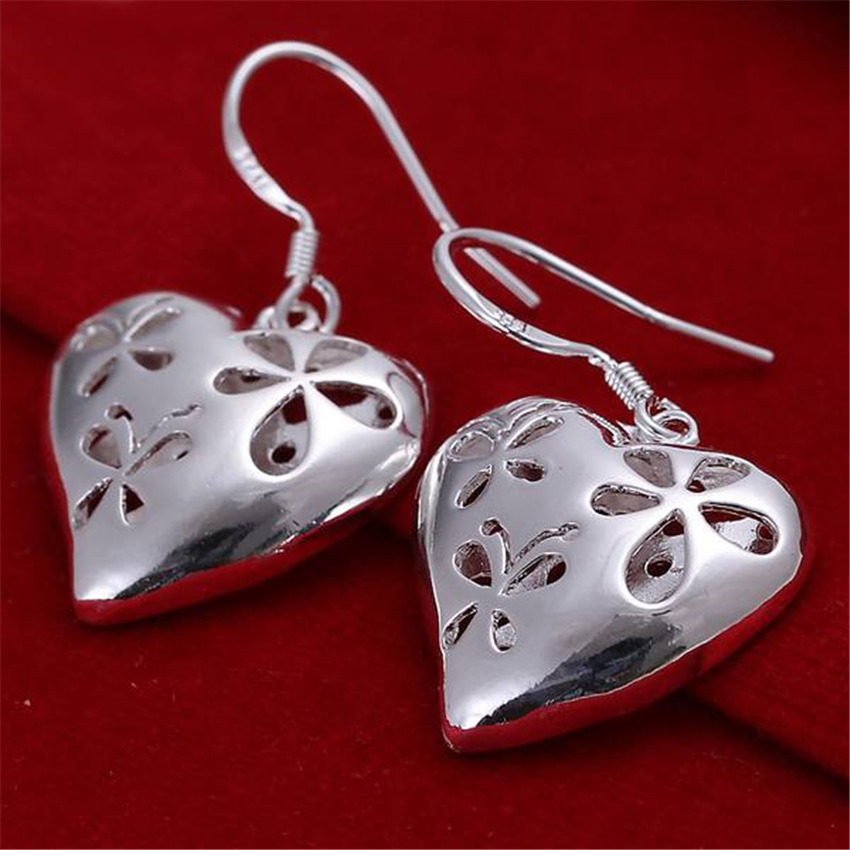 Beautiful women favorite fashion Heart wedding Lovely silver color heart earrings high quality fashion jewelry E217 1