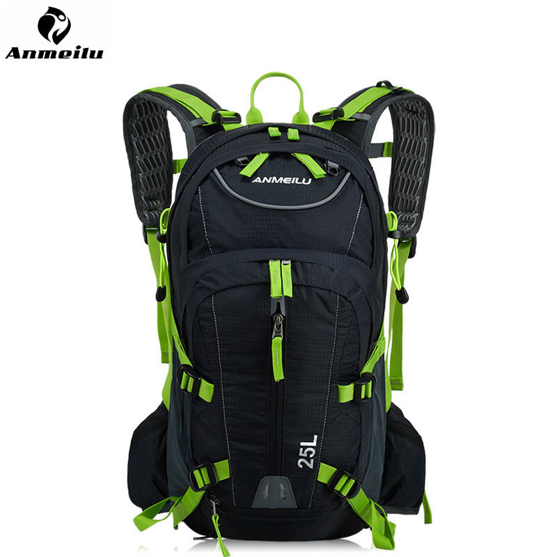 ANMEILU Bike Backpack With Reflective Safety Color 25L Waterproof Cycling Bag Outdoor Bike Travel Bag Rucksack&Helmet Net Cover anmeilu bicycle bags rainproof cover hiking climbing shoulders bag 25l waterproof rucksack cycling backpack bike accessories