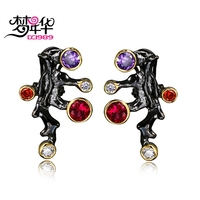 DC1989 Free Shipping 2016 New Coral 18K Gold Black Plated Cubic Zirconia Brass Drop Earring Cilp