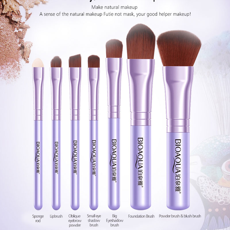 BIOAQUA Soft Synthetic Hair Makeup Tools Kit MakeUP Black Leather Case Cosmetic Beauty Makeup Brush Best Make Up Brushes 7Pcs in Eye Shadow Applicator from Beauty Health