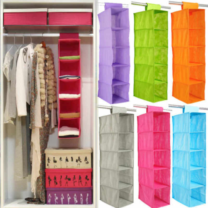 5 Shelf Hanging Wardrobe Section Storage Closet Organiser Shoe Clothes Garment