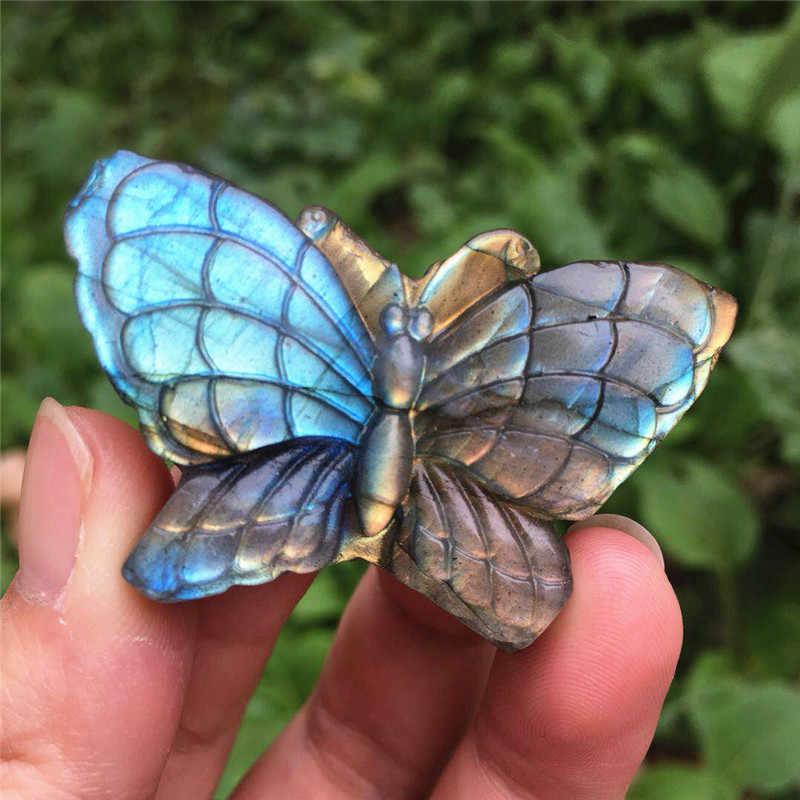 טבעי כחול ברדוריט יד crved ומלוטש קריסטל אבן פרפר