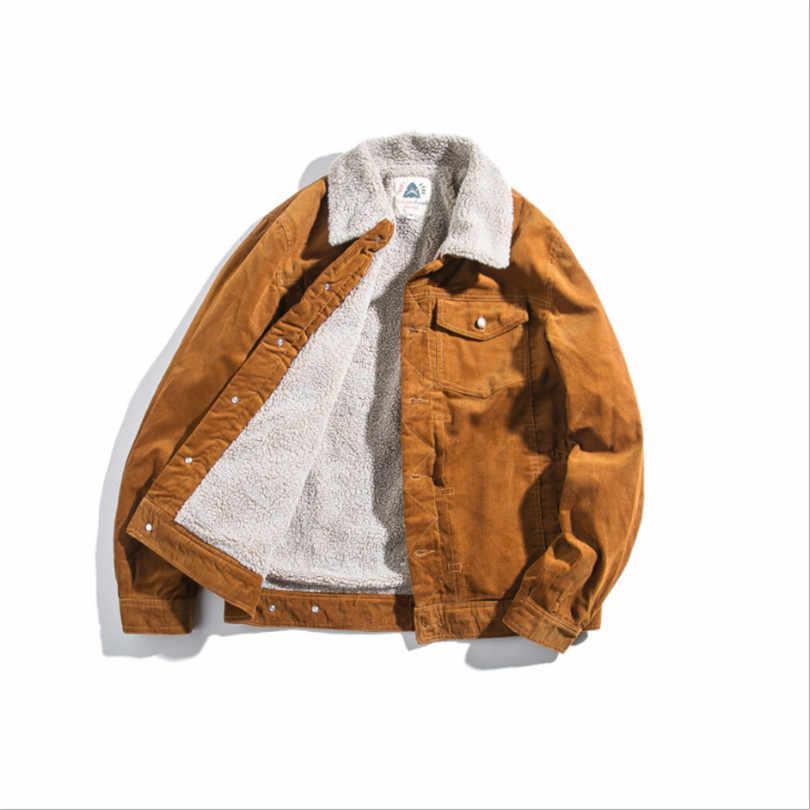 2019 зимняя куртка для мужчин зимние утепленные овечьей шерсти подкладка из флиса деним куртки мужские пальто хип хоп пальто Вельветовая