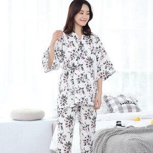 Image 1 - 100% Katoenen Kimono Pyjama Japanse vrouwen Gaas Dunne Pijama Mujer V hals Vrouwen Pyjama Set Drie Kwart Pyjamas Thuis Kleding