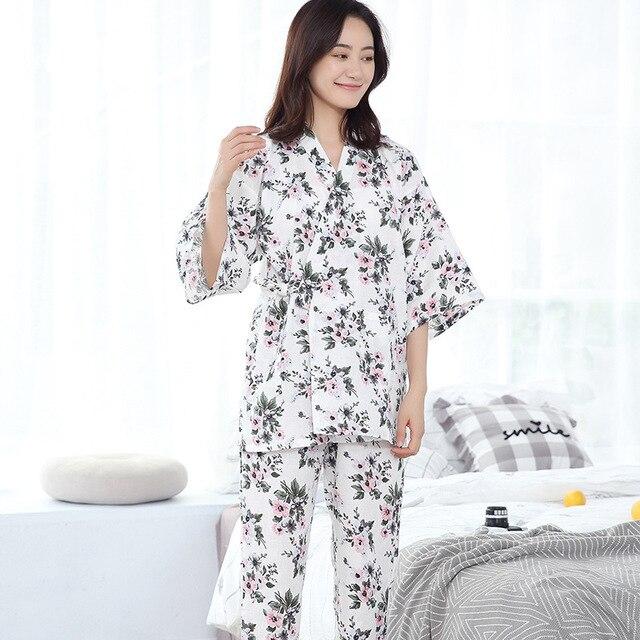 100% Katoenen Kimono Pyjama Japanse vrouwen Gaas Dunne Pijama Mujer V hals Vrouwen Pyjama Set Drie Kwart Pyjamas Thuis Kleding