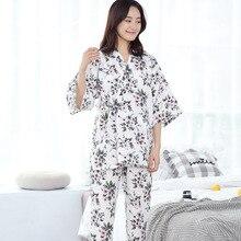 % 100% Pamuk Kimono Pijama Japon kadın Gazlı Bez Ince Pijama Mujer V Yaka Kadın Pijama Seti Üç Çeyrek Pijama Ev Giyim