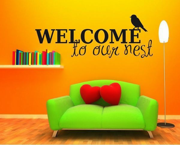 0858 Free Shipping Welcome To Our Nest Family Stickers Wall Decal