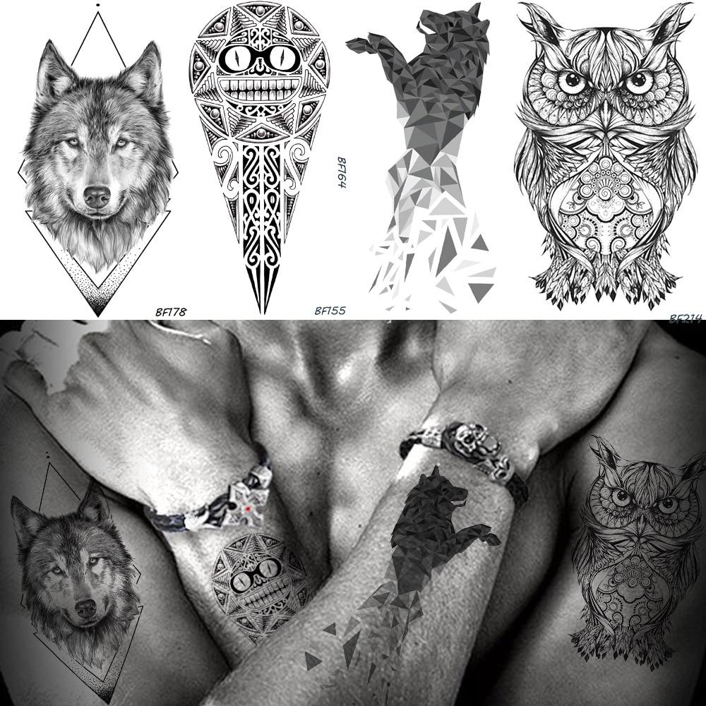 Baofuli Waterproof Temporary Tattoo Geometry Wolf Owl Sticker God Totem Black Tattoos Fake Tatoo Men Arm Body Art Animal