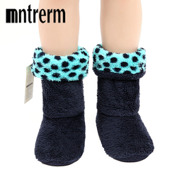 Mntrerm new Soft Plush Home Slippers Flannel Sole Indoor Fleece Floor Socks Large Size Men Indoor Slippers For Winter Shoes Gift