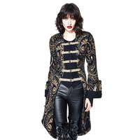 2018 New Arrival Autumn Winter Gothic Women Jacket Palace Noble Gold Jackets Triple Breasted Stand Collar Skirt Jacket