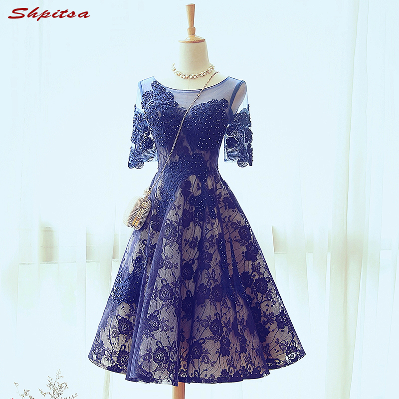 Sexy Blue Short Lace Cocktail Dresses Womens Beaded Prom Coctail ...