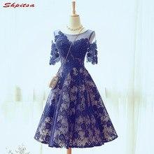 408f83dcb6d8e مثير الأزرق الرباط فساتين كوكتيل قصير إمرأة مطرز حفلة موسيقية فستان كوكتيل  للحزب jurk vestidos دي coctel renda