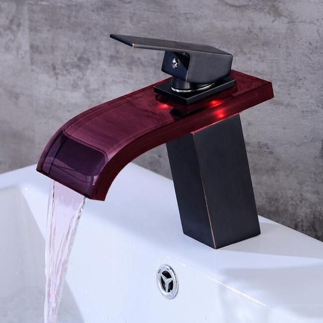 Badkamer Waterval Kraan LED Kraan. glas Waterval Messing Wastafel ...