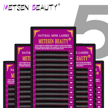 METESEN BEAUTY  faux mink individual eyelash extensions matte black eyelashes extension 5cases set 16rows individuales lashes