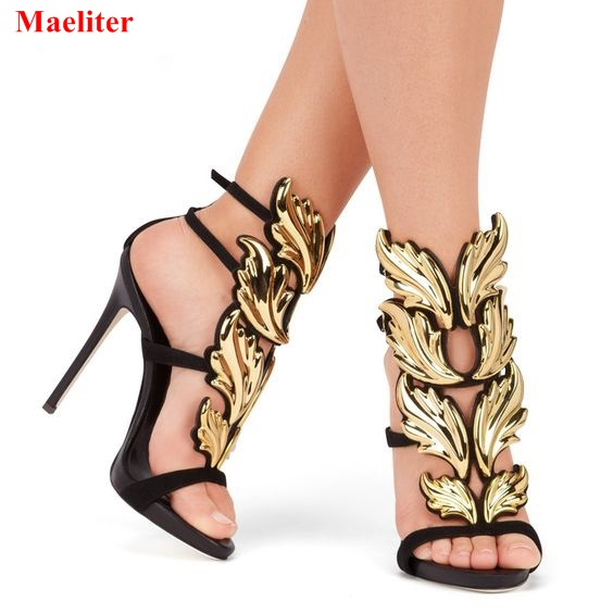 New Summer Winged Gladiator Women Sandals High Heels Fashion Open Toe Shoes Woman Pumps Ladies Stiletto Heel Sandalias Mujer free shipping lamtop 180 days warranty projector lamps with housing elplp44 v13h010l44 for emp de1