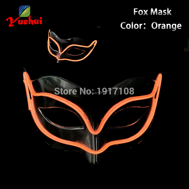 2017 NEW EL wire Masks Halloween 10 Color Fox glowing Mask EL wire Festival LED Glowing Party DJ dance Carnival Masks Supplies