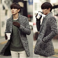 2015 New Wave Of Mens Thick Gray Linen Suit Collar Wool Coat Winter Fashion Slim Suit Collar Woolen Pea Coat