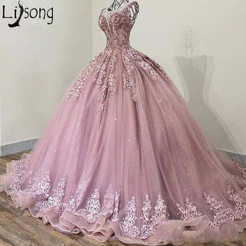 2019 Elegant Sheer Jewel Neck Evening   Dress   Ball Gown Lace Appliques Beads Sweep Train Formal Gown Vintage   Prom     Dresses   Hot Sale