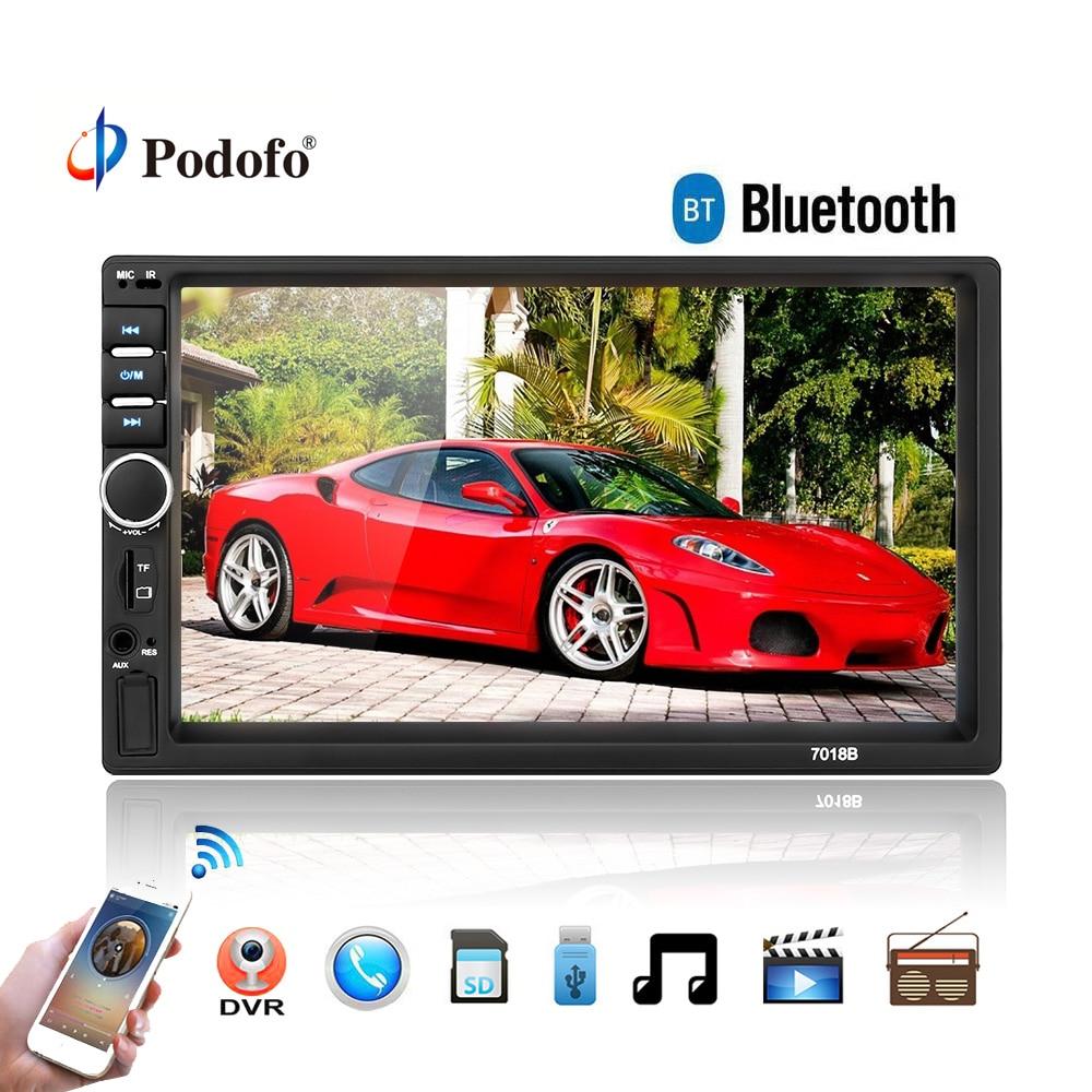 Podofo Авторадио 2 Din общие модели автомобилей 7 ''дюймовый сенсорный экран автомобиля радио плеер Bluetooth аудио Поддержка Камера заднего вида 7018B