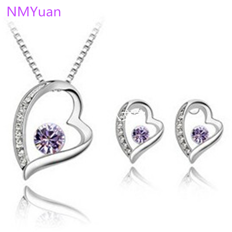 New fashion crystal jewelry suite Korean heart-shaped necklace earring sets forever wholesale and retail