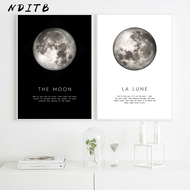 Nordic Style The Moon Wall Art Canvas Poster Print Painting Minimalist La Lune Decorative Picture Modern Living Room Decoration