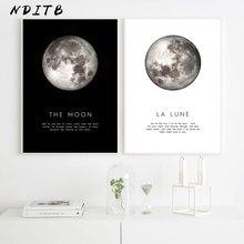 Toile d'art mural de Style nordique, peinture imprimée La Lune, décoration moderne