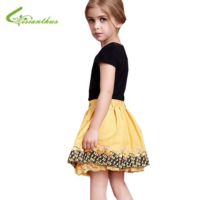 Children Girls Skirts Flamingo Embroidery Princess Tutu Skirts Layered Pettiskirt Kids Girl Summer Clothes Free Drop Shipping