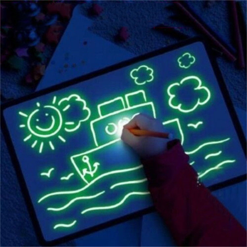 3D Graffiti Drawing Board Draw With Light Glow In The Dark Painting Writing Board Lighting Noctilucous Funny Toy For Children