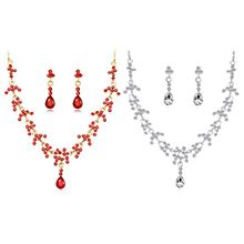 цена на 1 Set Necklace Earrings Water Drop Dangle Jewelry Luxury Wedding Red Lady Bridal Party Gift Exquisite Jewelry Sets