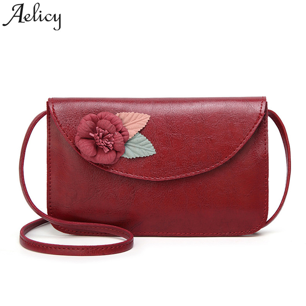Aelicy 2018 Hot New Fashion Light High Quality Women Girls Flower Leather Crossbody Bag Messenger Phone Bag girls Shoulder Bag