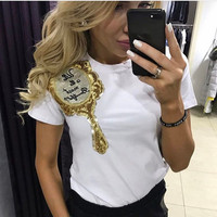 2017 Brand New Summer Tops Fashion Clothes for Women Shoulder Sequin Mirror Harajuku Kawaii T Shirt Women\'s T-Shirts Camisas