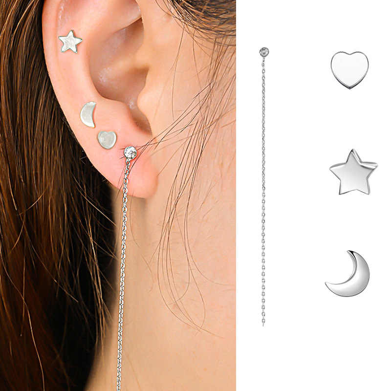 Crazy Feng Silver Color Star and Moon Stud Earring Set Jewelry Ladies  Crystal Chain Line Earrings