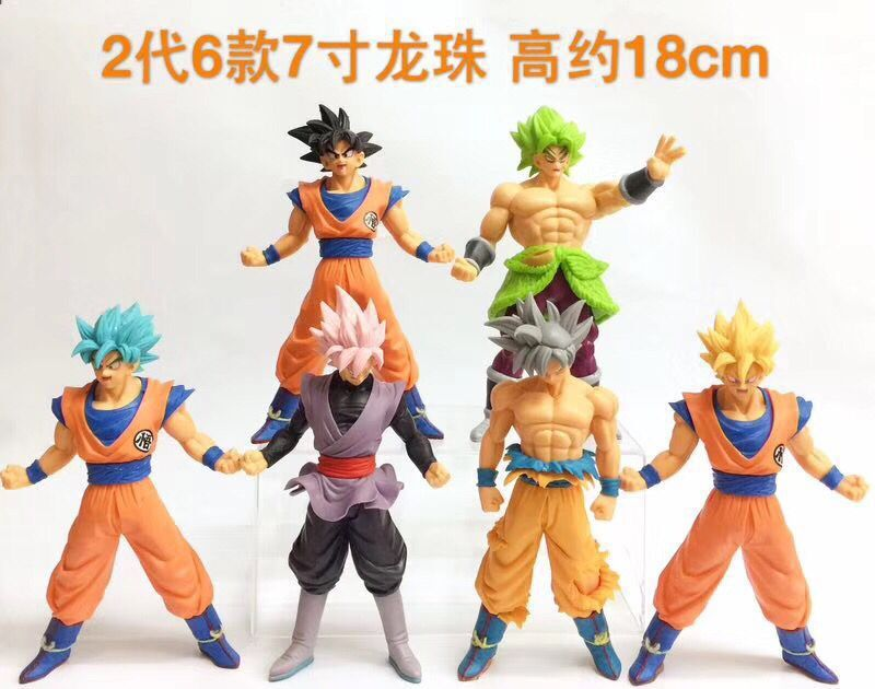6 pcs/lot Dragon Ball Z Super Saiyan (Ultra Instinct) Son Goku figurine Action Rose Goku noir Jiren Gogeta modèle jouets 18 cm