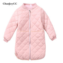 ChanJoyCC Winter Hot Sale Children's Coat Girls Long Sleeve Fashion Thickening Warm Outerwear For 8 Years Old And Above Kids