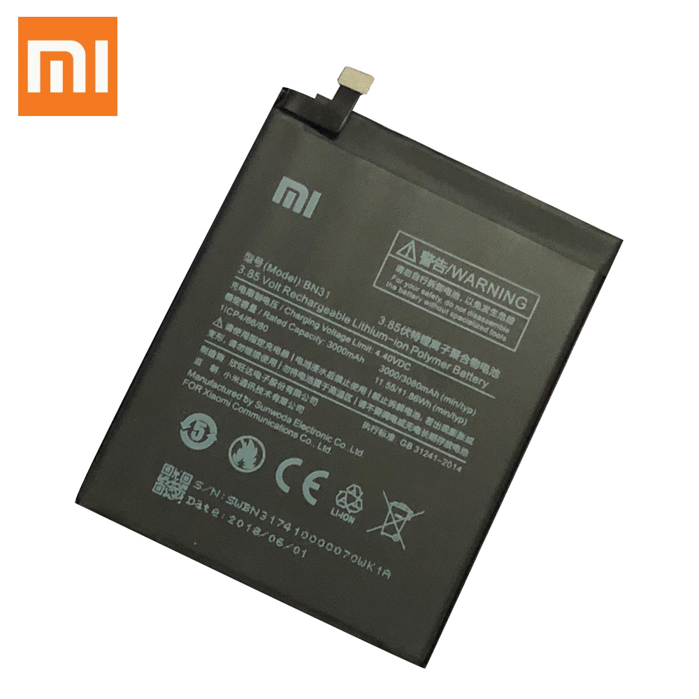 XIAOMI Battery For BN31 Mi-A1 Original Note Y1-Lite 3000mah-Replacement Redmi 5A Prime