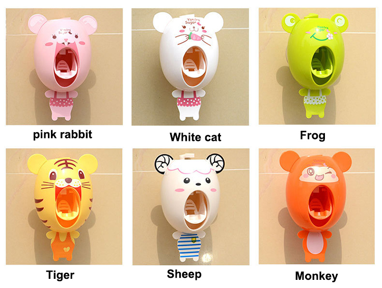 Factory Outlets Animal Automatic Kids Toothpaste Dispenser Toothbrush Holder Bathroom Set Cute In Accessories Sets
