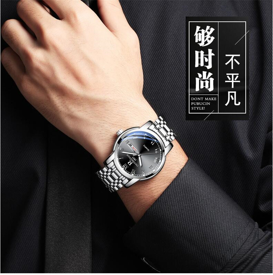 Watch Men Women Business Waterproof Clock Auto Date Silver Steel Mens Watches Fashion Casual Ladies Quartz Wristwatch NEW 3