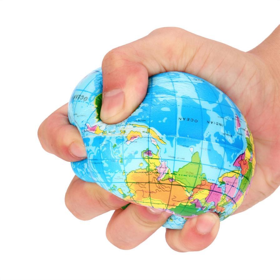 76mm soulagement du Stress carte du monde boule de mousse Atlas Globe paume lente augmentation de la terre boule cadeaux belle et Tute Kawaii enfants jouet adulte