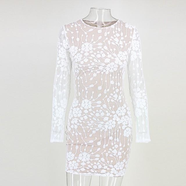 Cute sequin white short lace dress