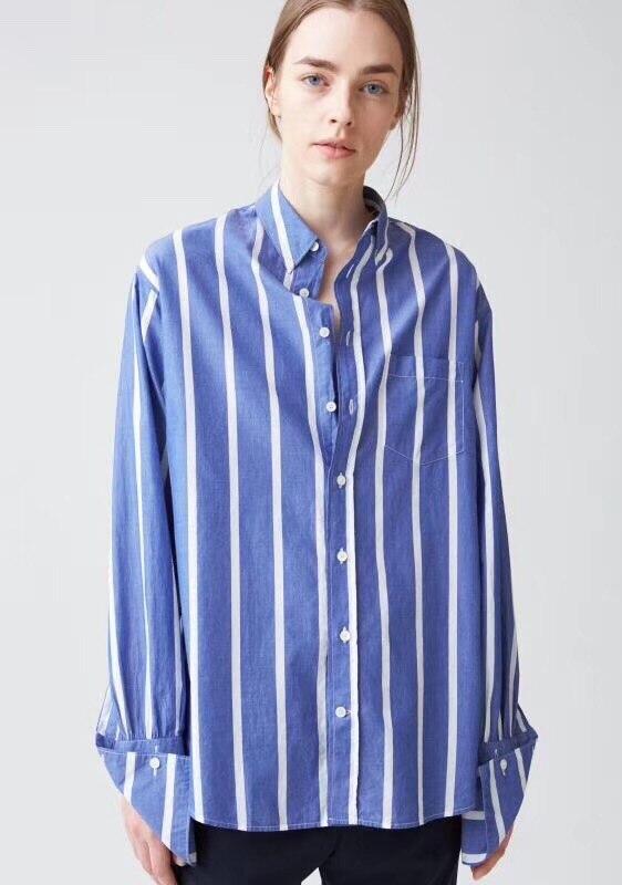 Blu Bianco Camicia A Righe trasporto di Goccia Spalla maniche Lunghe Classico Francese Polsini oversize top Donna di Alta Qualità-in Camicette e gonne da Abbigliamento da donna su  Gruppo 1